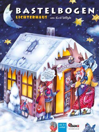 Hexenhaus Lebkuchenhaus aus Papier für Kinder zum Basteln Weihnachten