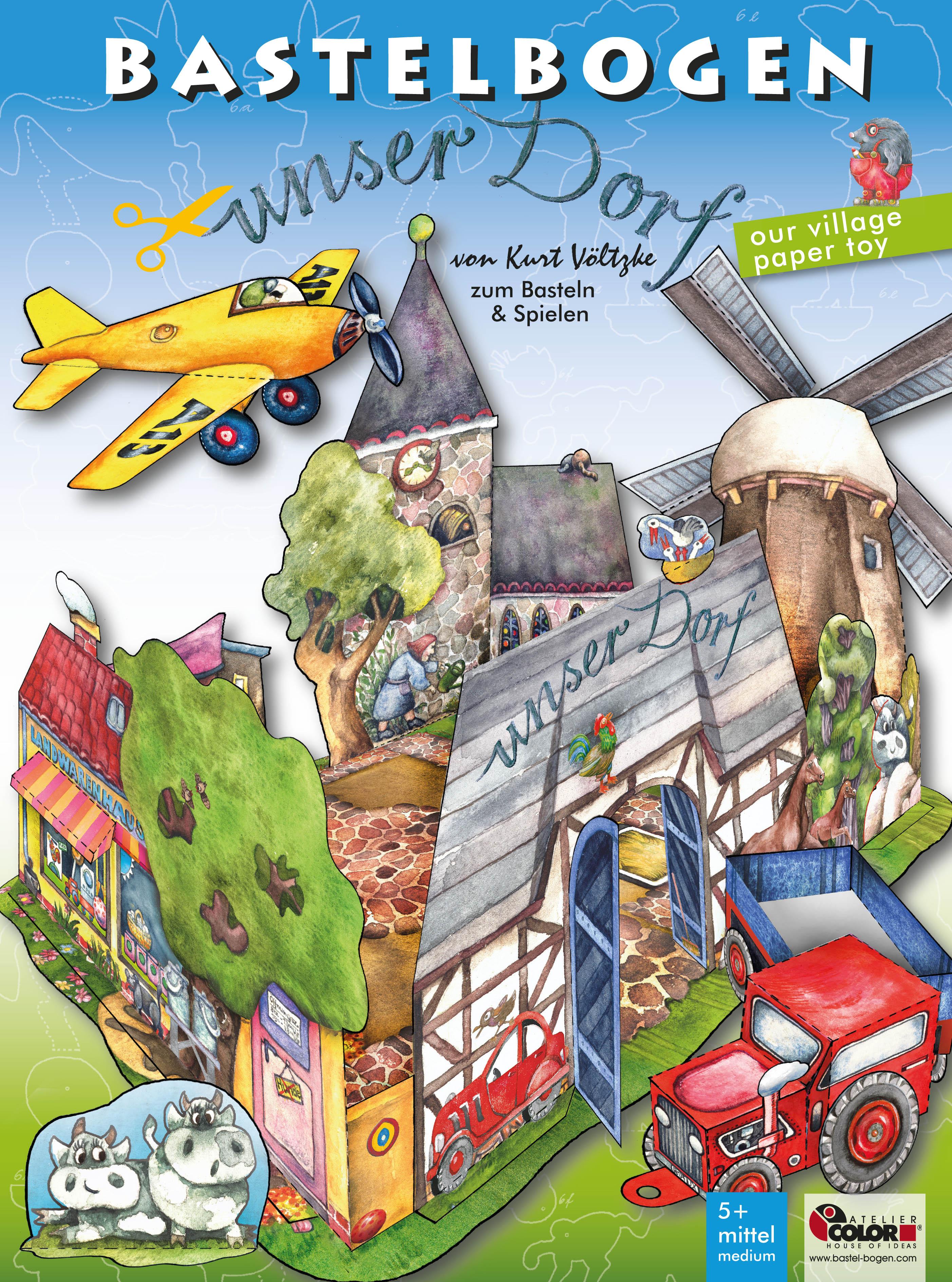 unser Dorf our village paper toy Papierspielzeug zum Basteln