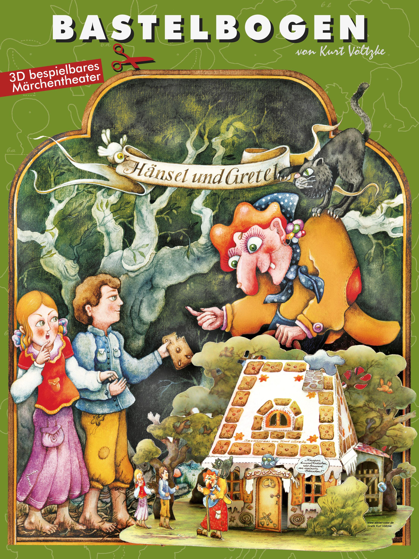 Hänsel und Gretel Bastelbogen AusschneidebogenLebkuchenhaus Weihnachten Märchem Grimm