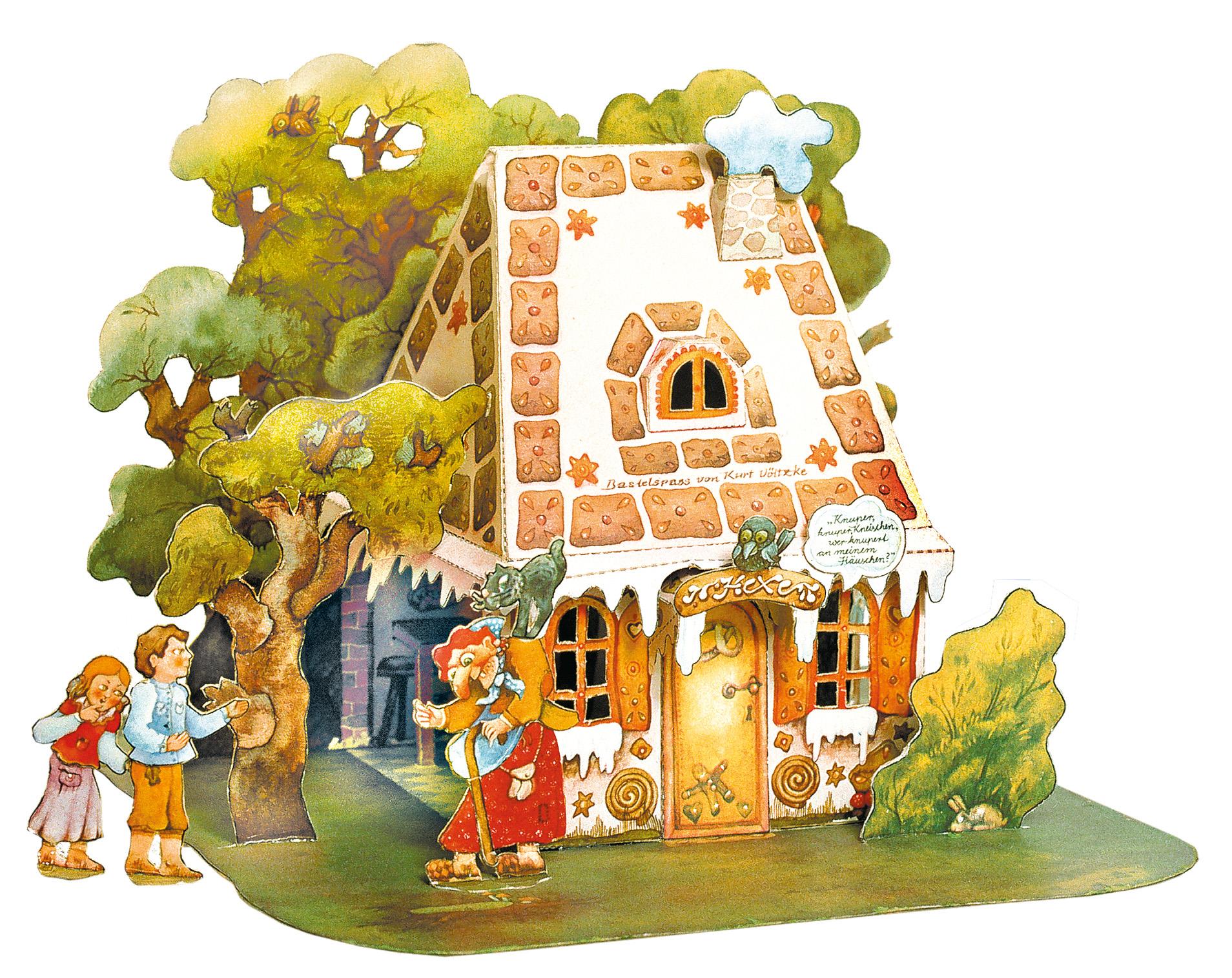 Hänsel und Gretel Bastelbogen Ausschneidebogen Lebkuchenhaus Weihnachten Märchem Grimm Hexenhaus