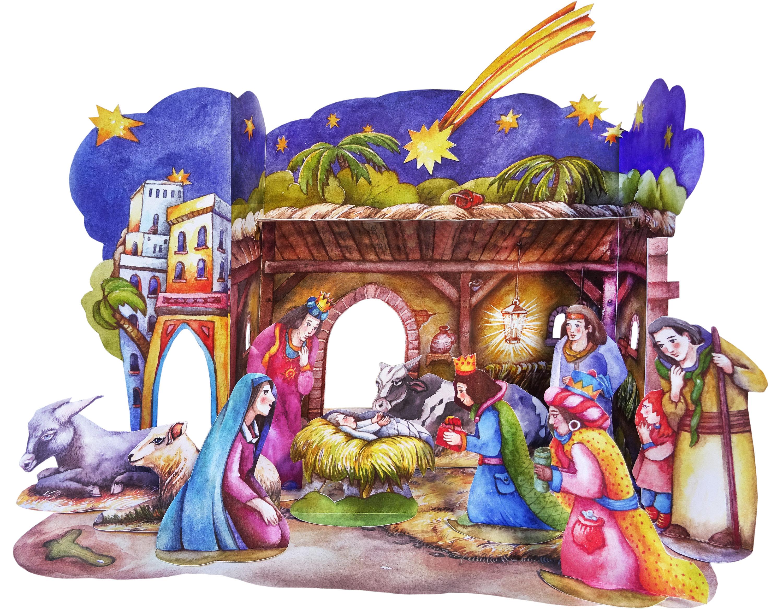 Weihnachtskrippe Bastelbogen Papierkrippe Tradition aus dem Erzgebirge, basteln mit Kindern im Advent zur Weihnachtszeit