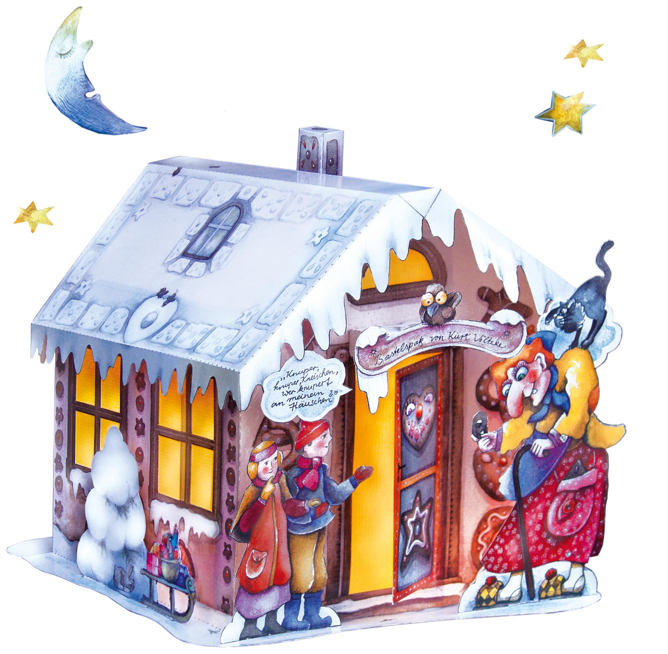 Lichterhaus Lebkuchenhaus Bastelbogen Hänsel und Gretel Grimm Märchen Advent Weihnachten