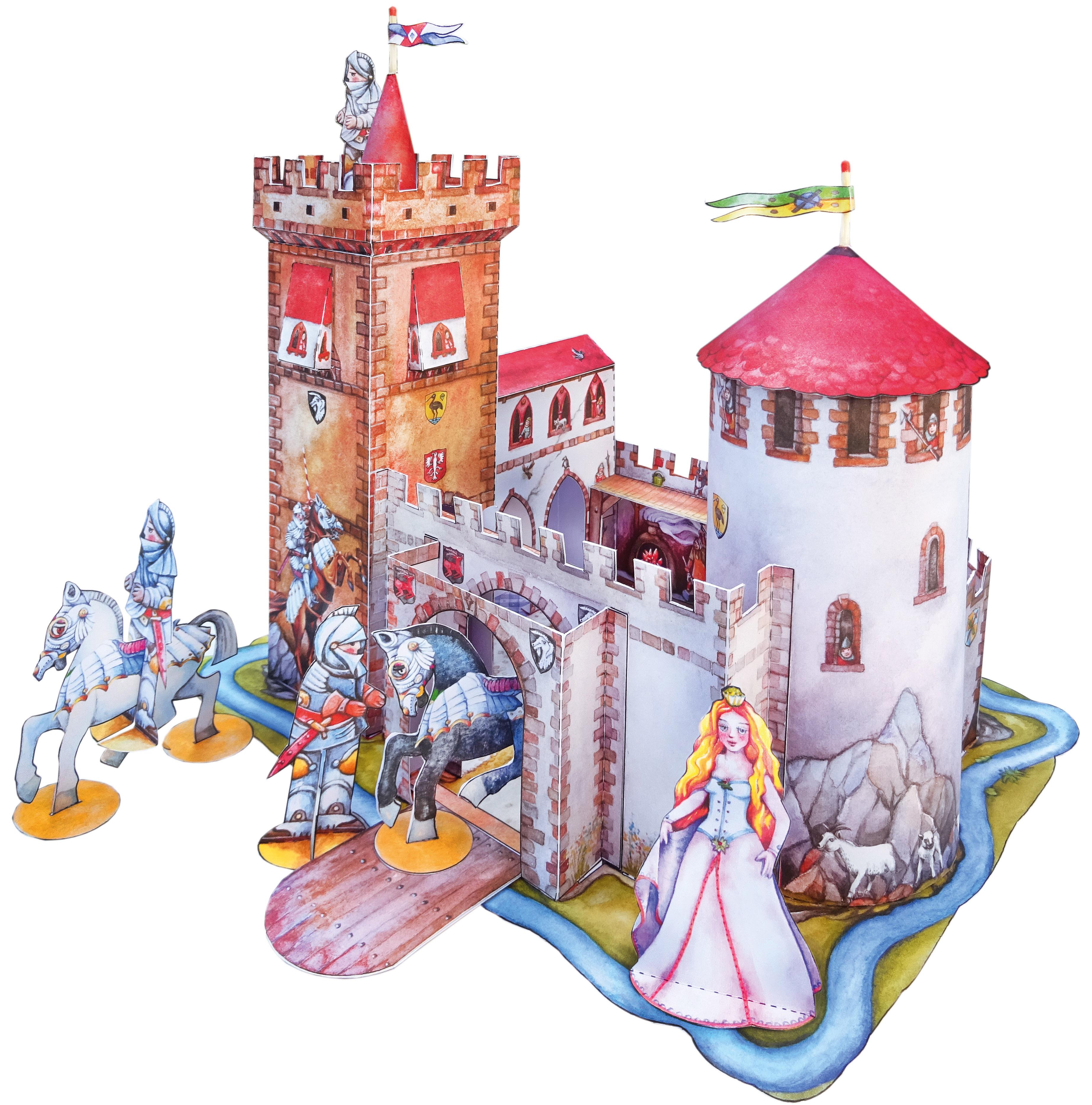 Ritterburg Bastelbogen für Ritter Kinder Feinmotorik Mittelalter Burg Modellbau Kurt Völtzke