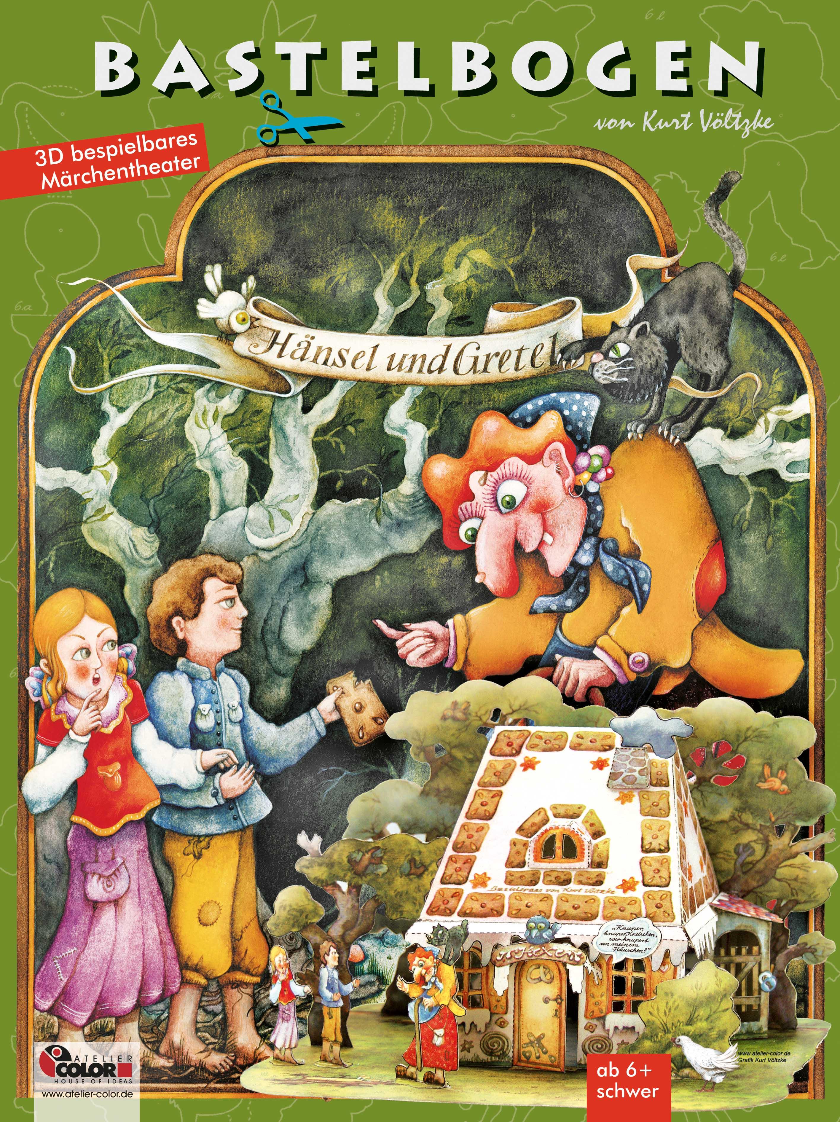 Hänsel und Gretel Bastelbogen Hexenhaus Lebkuchenhaus aus Papier zum Basteln