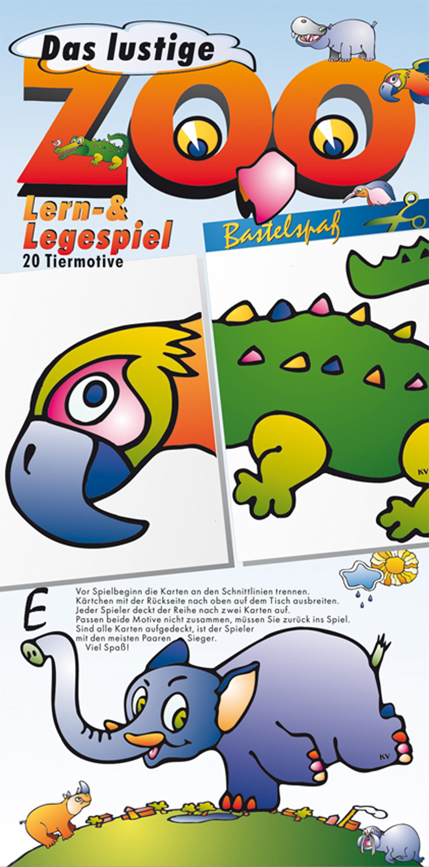 Zoolotto Bastelbogen Bilderlotto Memory basteln Kinder schneiden lernen Anfänger Tiere