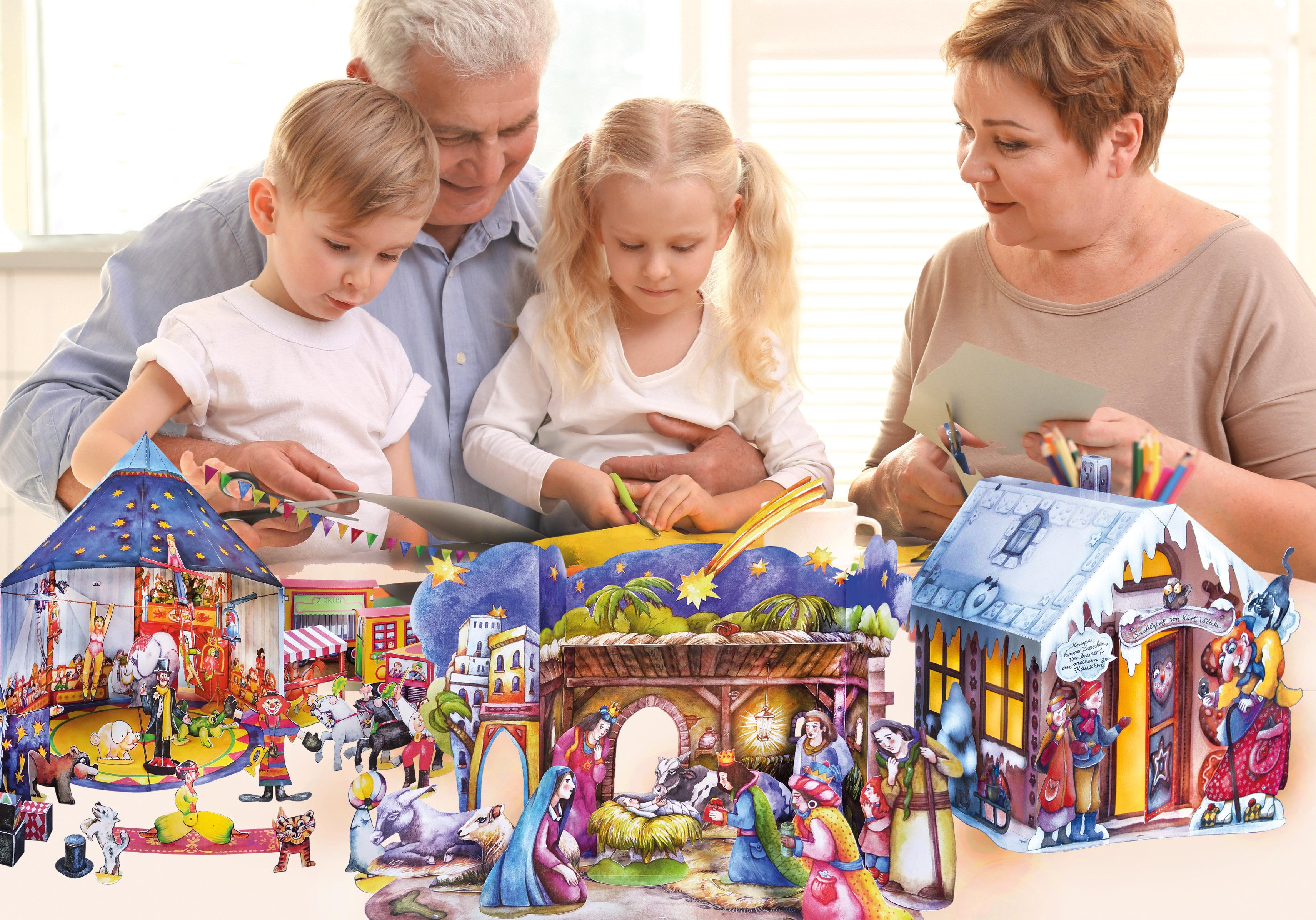 Bastelbogen Großeltern basteln mit Enkeln im Advent