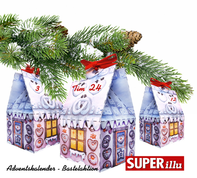 Bastelaktion Superillu Adventskalender Haus Bastelbogen Download kostenfrei