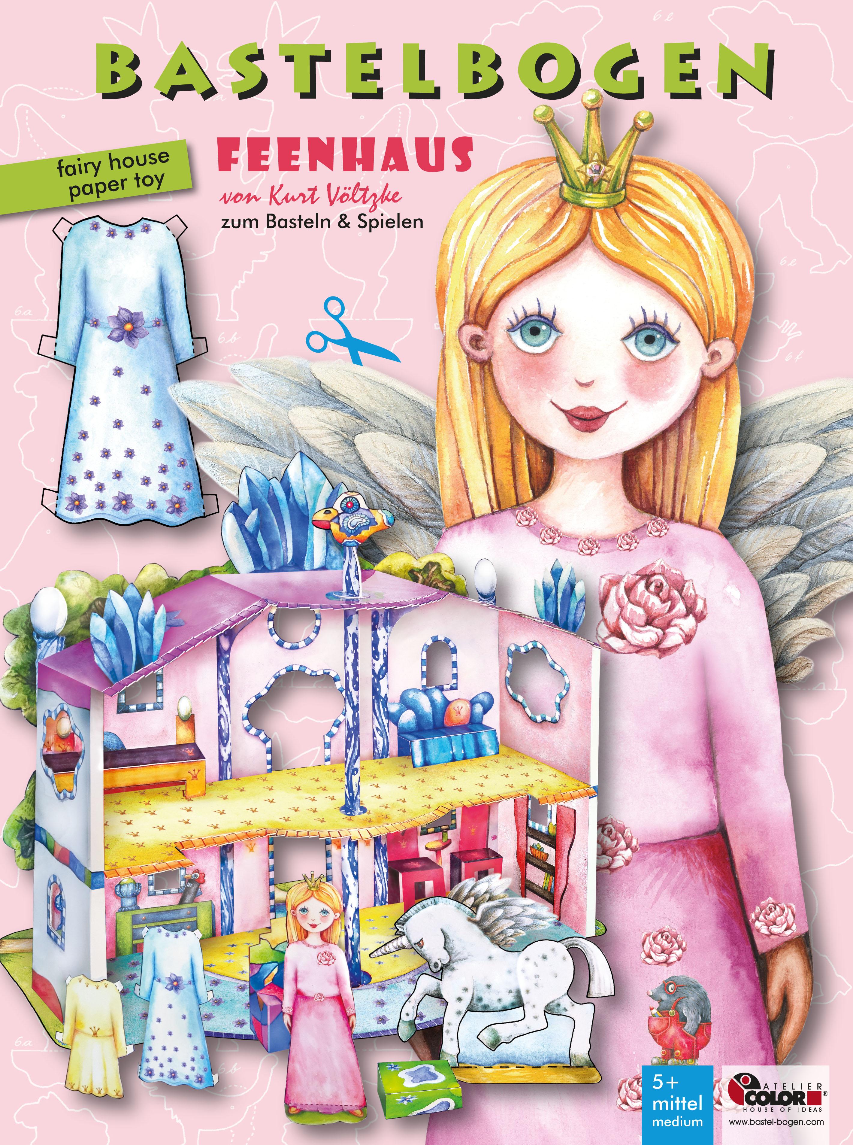 Feenhaus Bastelbogen Puppenhaus aus Papier zu Basteln