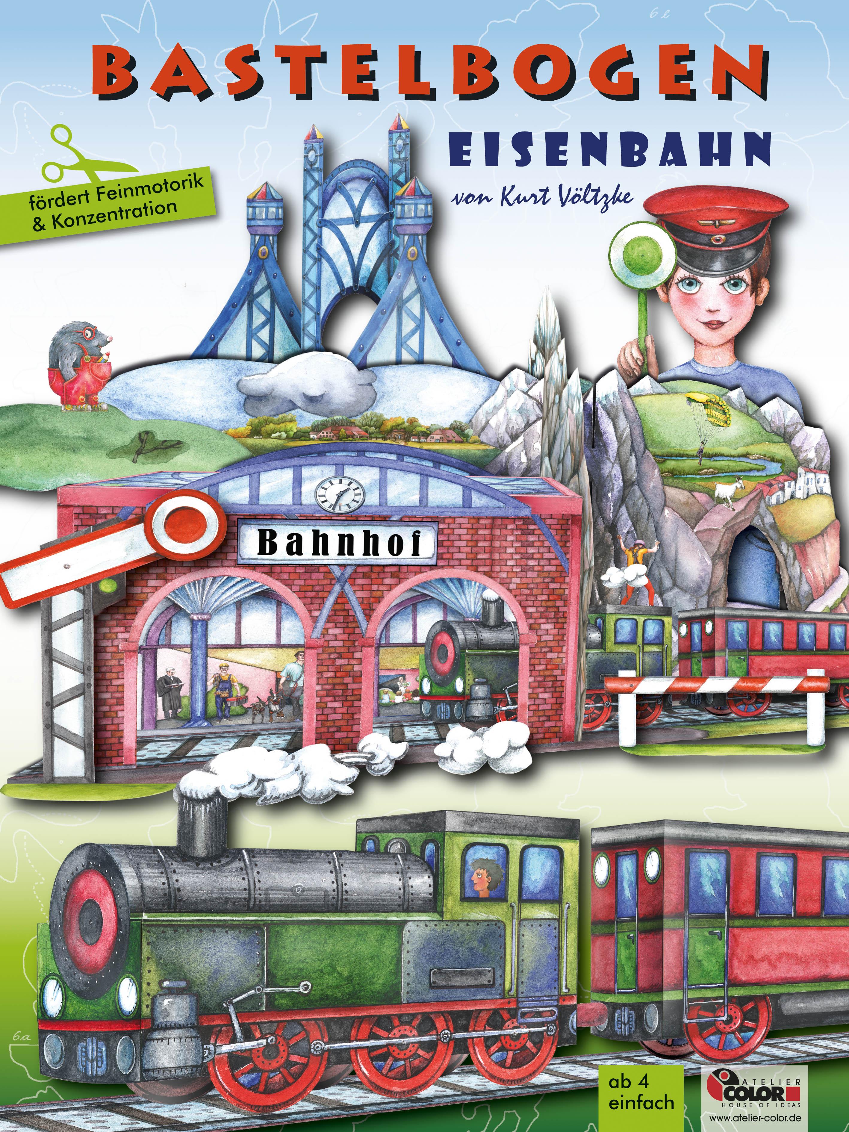 Eisenbahn Bastelbogen zum Ausschneiden, Basteln und Bespielen