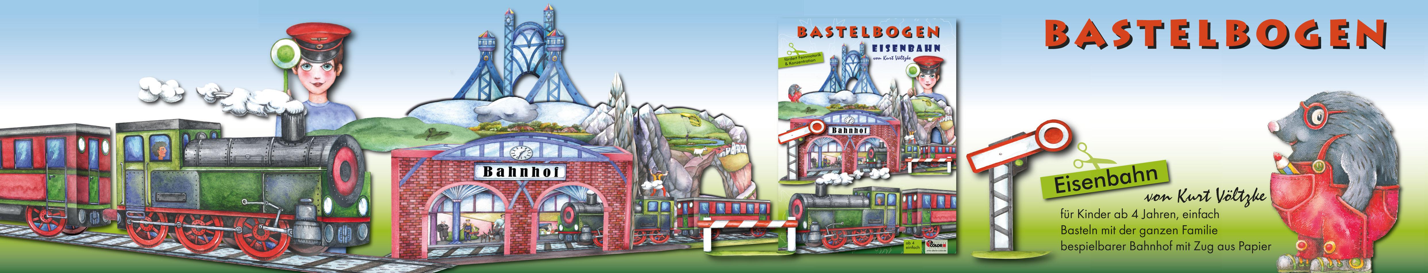 Bastelbogen Eisenbahn für Kinder