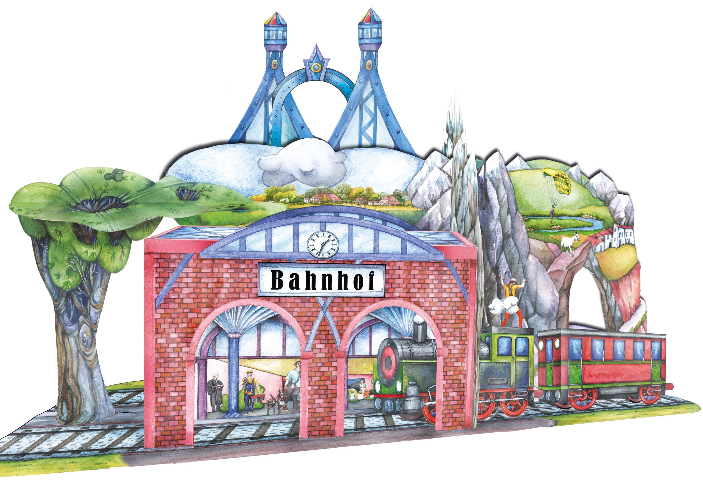 Eisenbahn Bastelbogen mit Bahnhof für Kinder zum Ausschneiden, Basteln und Spielen mit der Holzeisenbahn