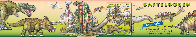 Bastelbogen Papierspielzeug Dinosaurier zum Basteln mit Papier für Kinder