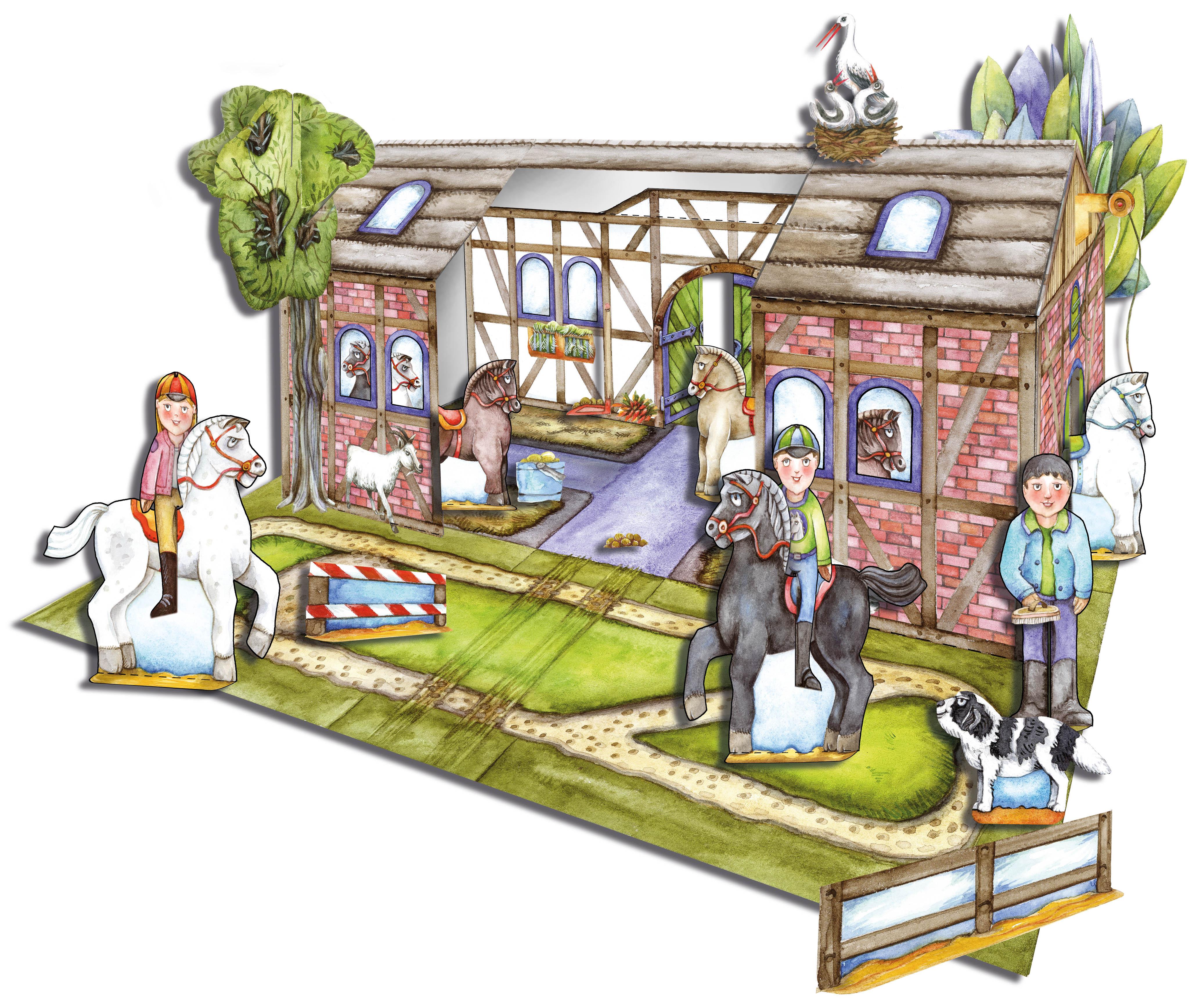 Bastelbogen Reiterhof zum Basteln und Spielen aus Papier