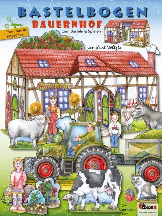 Bauernhof Bastelbogen basteln mit Kindern aus Papier