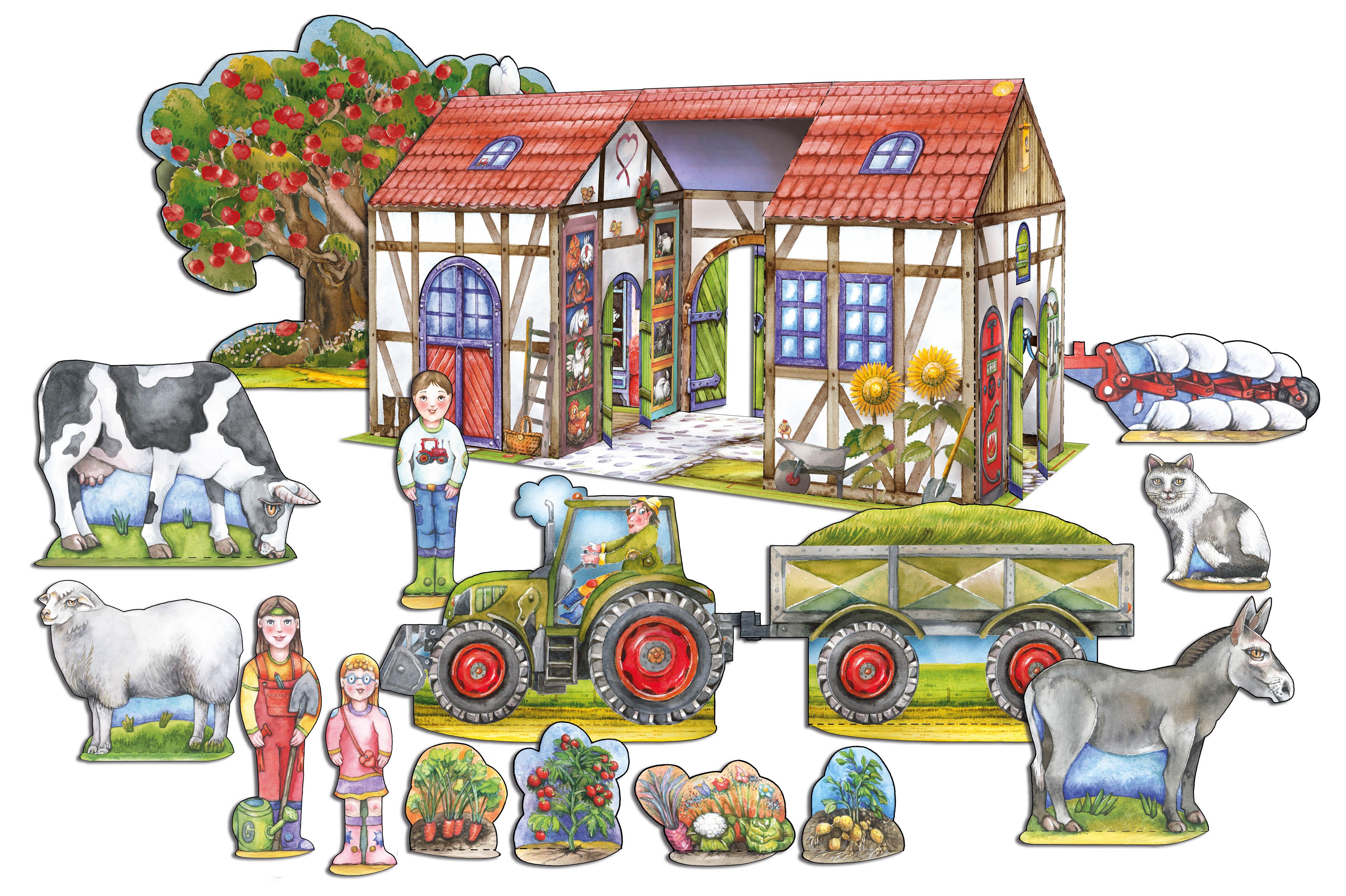 Bauernhof Bastelbogen, Tiere und Traktor basteln aus Papier