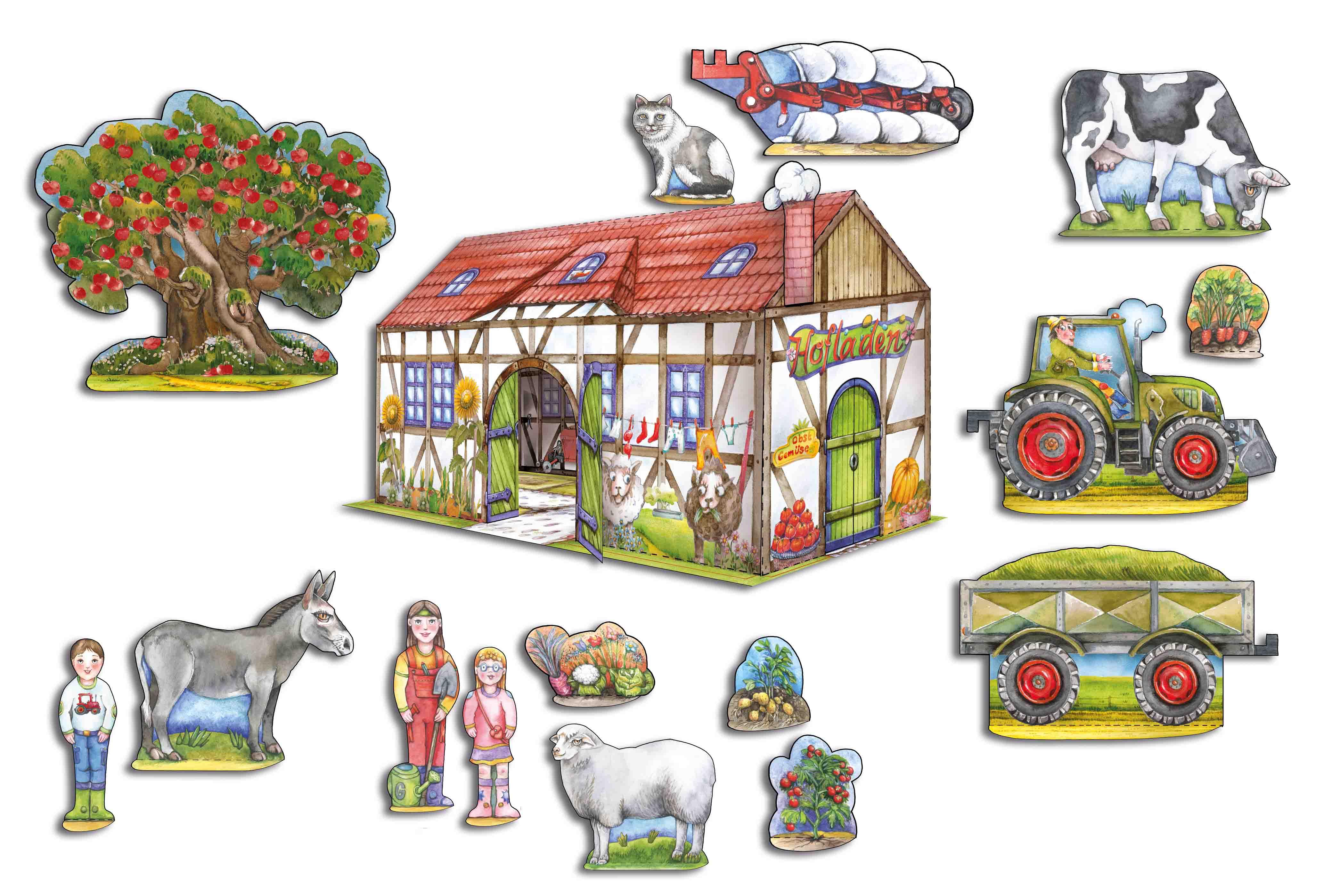 Bauernhof Bastelbogen basteln mit Kindern aus Papier Traktor und Tiere