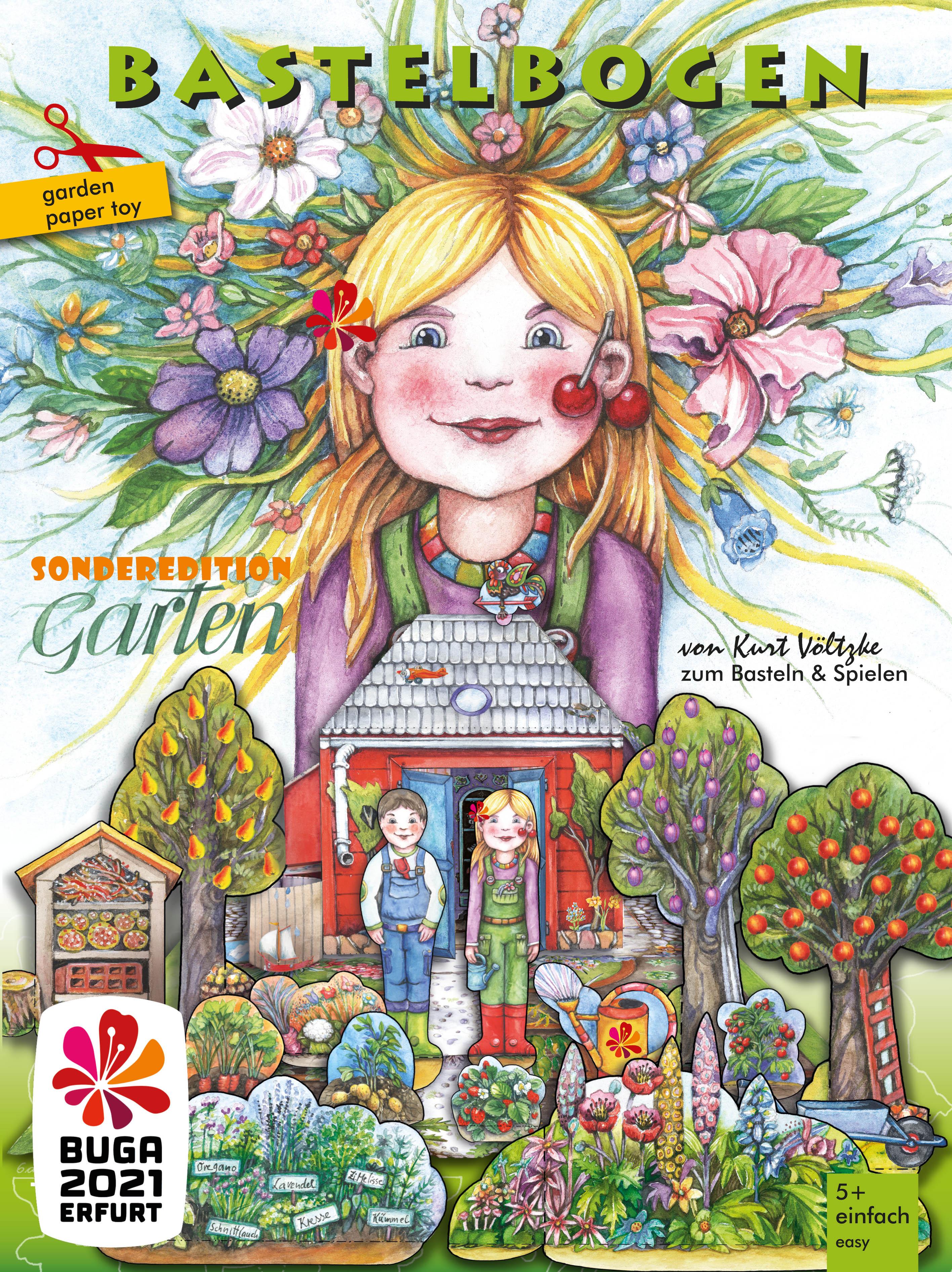 Garten Bastelbogen BUGA Erfurt für Kinder zum Basteln und Spielen
