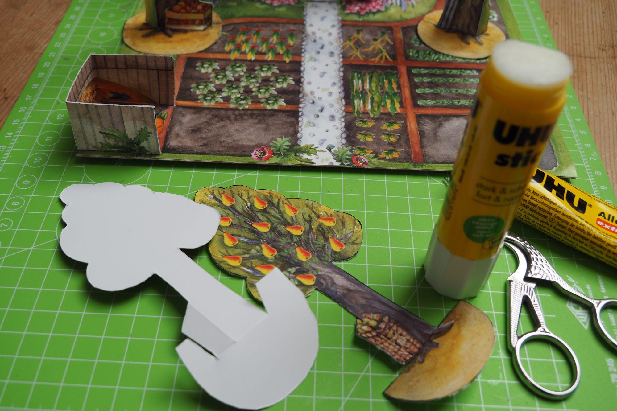 Bastelbogen Garten BUGA basteln mit Kindern aus Papier Spielzeug