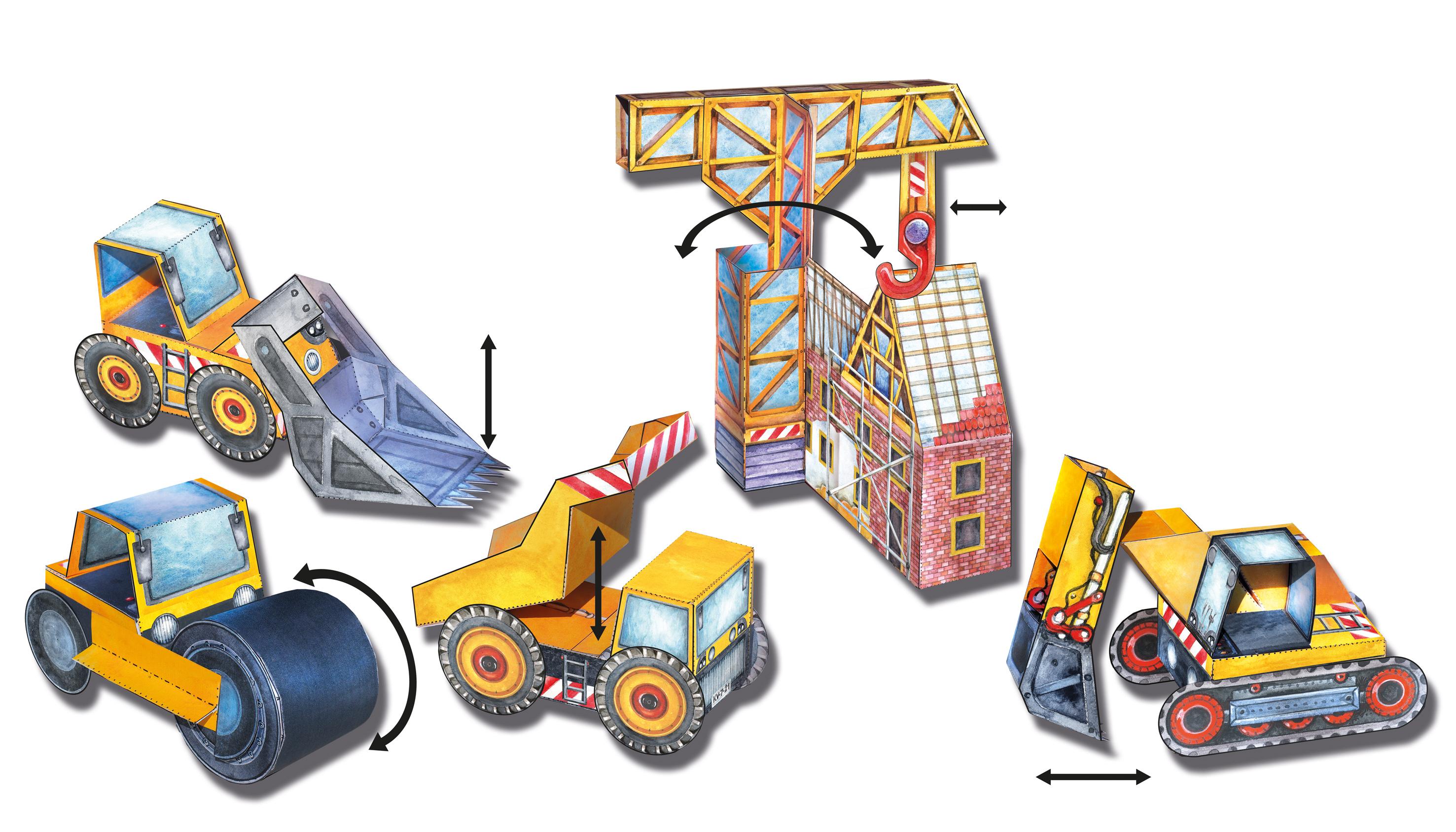 Bastelidee Baufahrzeuge aus Papier basteln mit Kindern