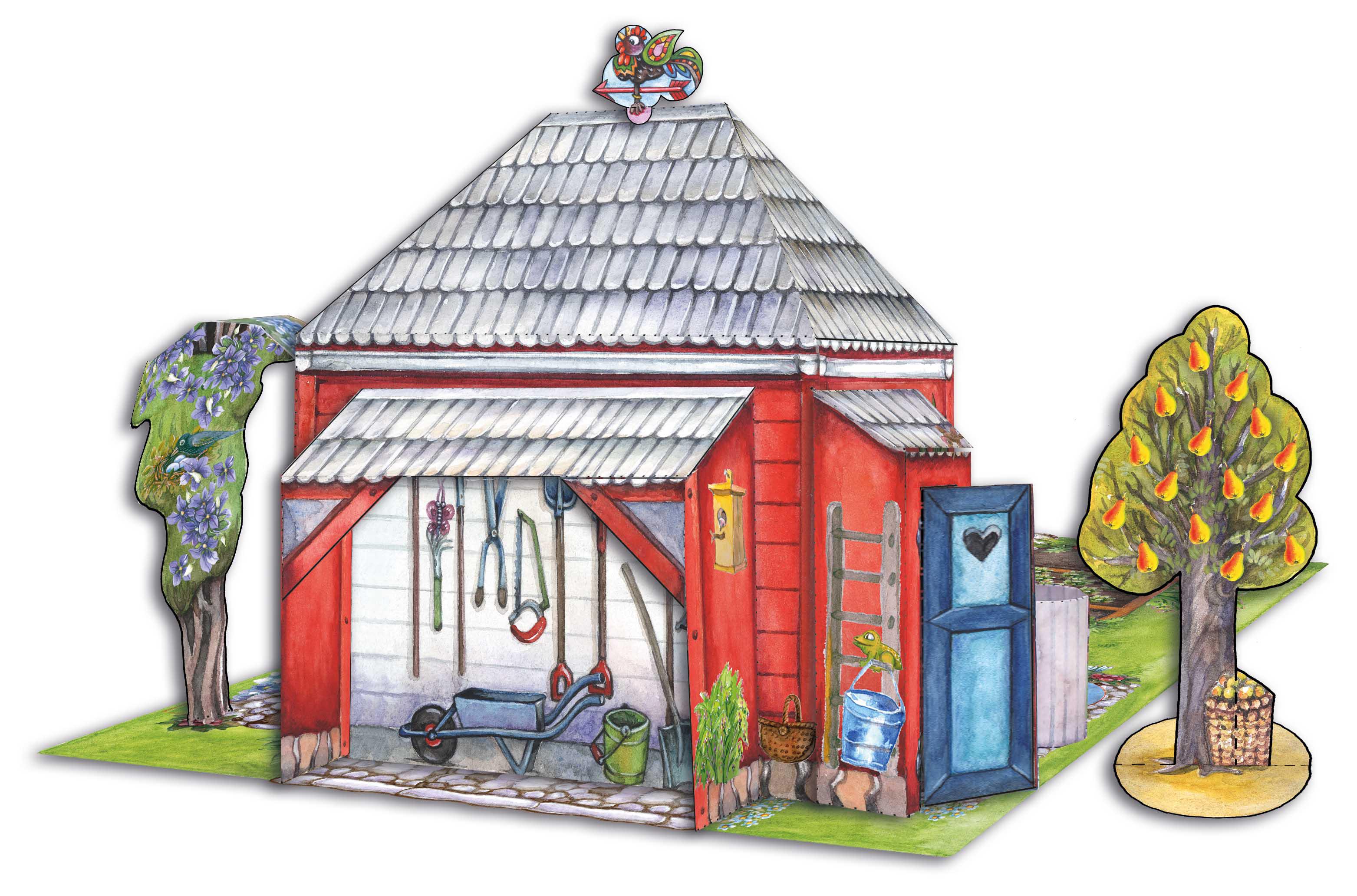 Garten Bastelbogen für Kinder zum Basteln aus Papier